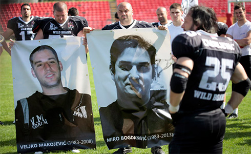 The Wild Boars played the game in memory of Bogdanović. On the left is Veljko Makojević, their former coach, who passed away under similar circumstances in 2008.